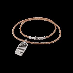 Baldessarini Armband, Y2092N/90/00, Silber, Lederband, braun