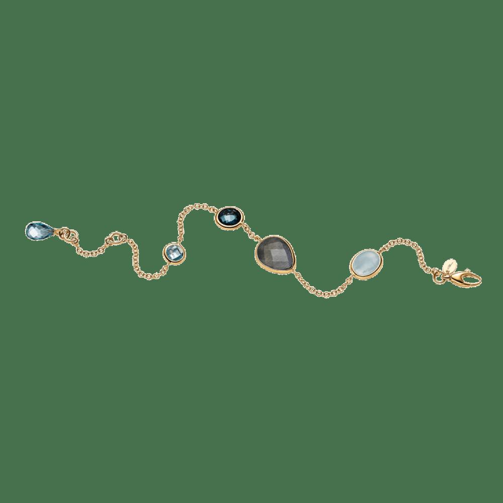 Elaine Firenze, Armband, Gelbgold, Aquamarin, Labradorit, Blautopas