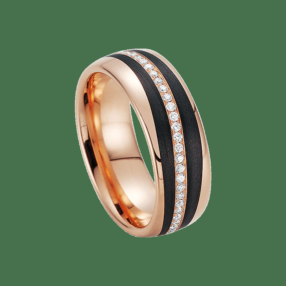 Fischer, Carbon küsst Gold, Schmuckring, 23-01110-070