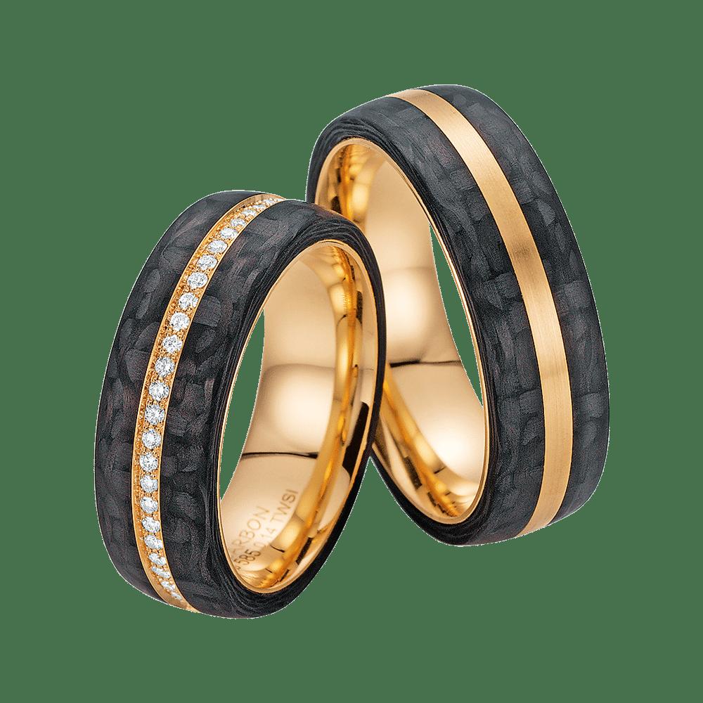 Fischer, Carbon küsst Gold, Trauringe, 23-01150-070