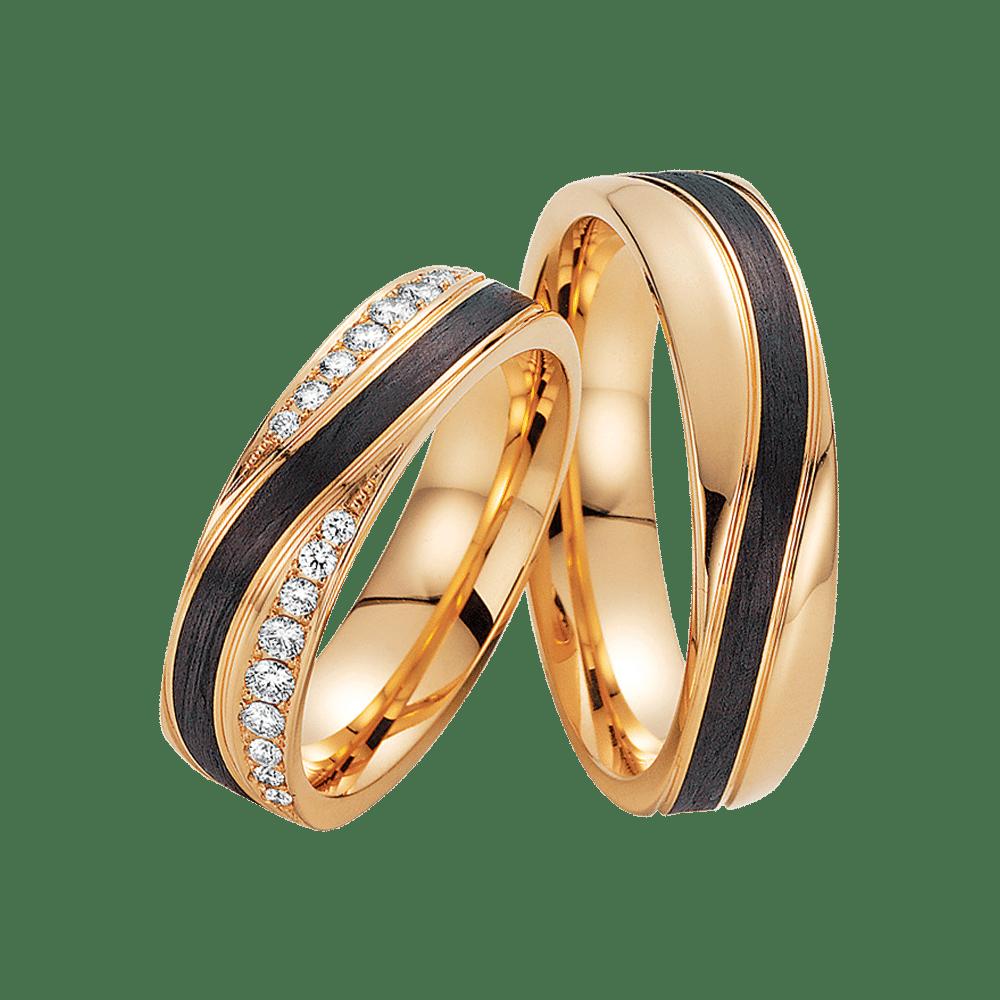 Fischer, Carbon küsst Gold, Trauringe, 23-01260-055