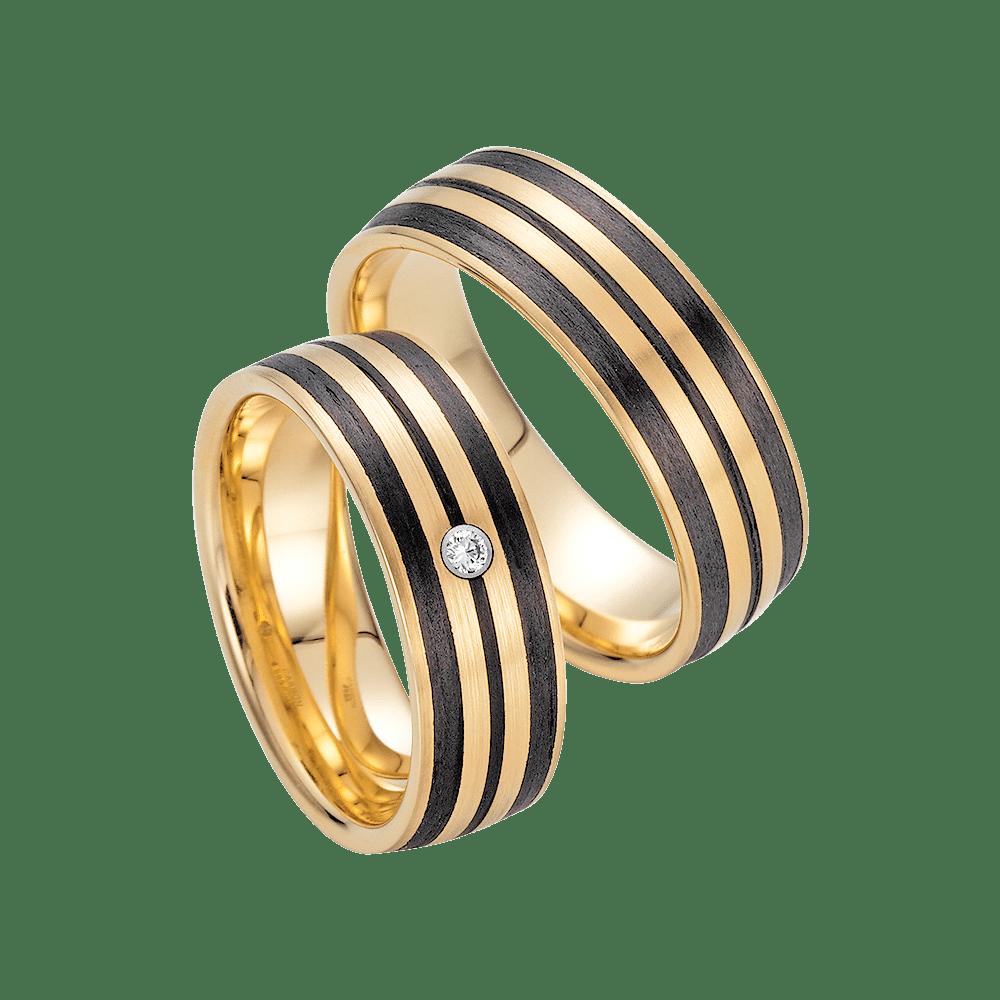 Fischer, Carbon küsst Gold, Trauringe, 23-01280-070