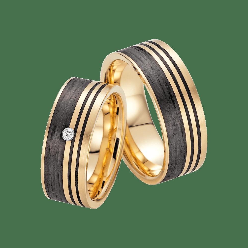 Fischer, Carbon küsst Gold, Trauringe, 23-01290-080
