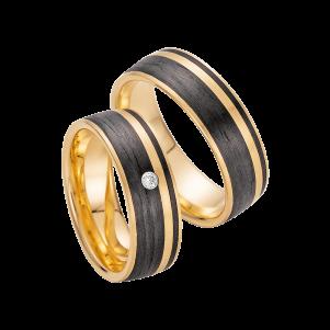 Fischer, Carbon küsst Gold, Trauringe, 23-01300-070