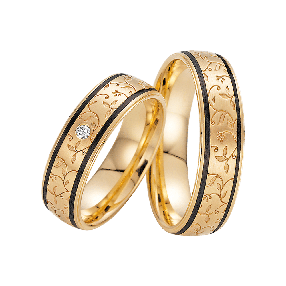 Fischer, Carbon küsst Gold, Trauringe, 23-01320-060