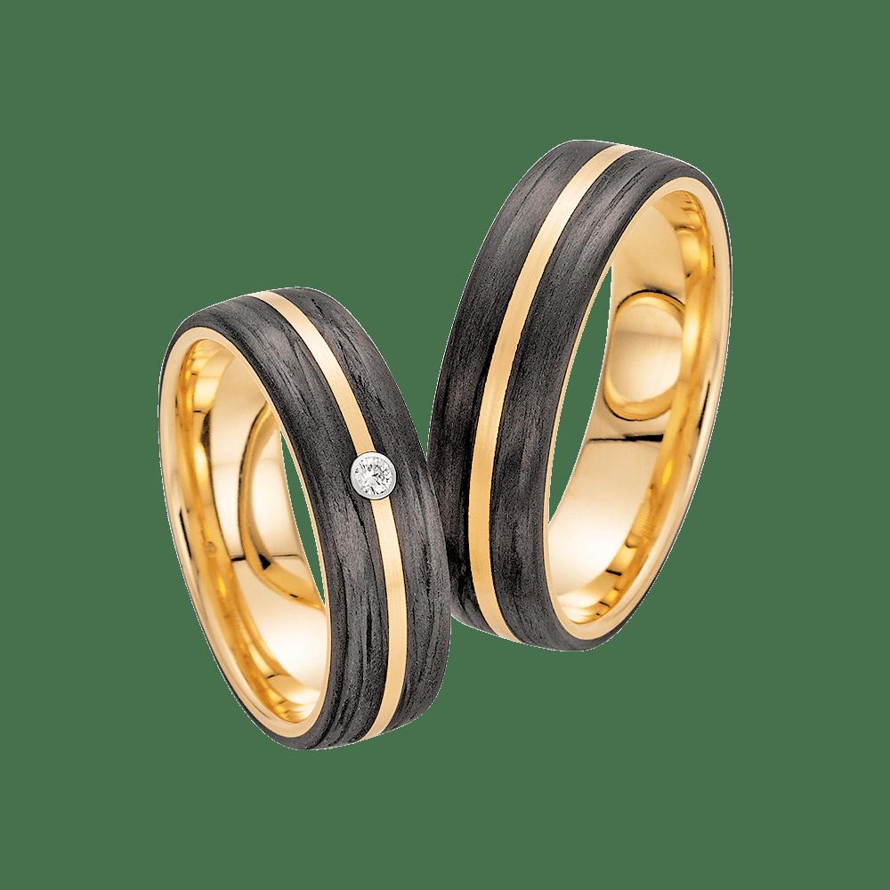 Fischer, Carbon küsst Gold, Trauringe, 23-01340-060