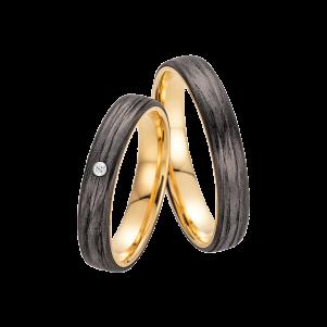 Fischer, Carbon küsst Gold, Trauringe, 23-01350-040