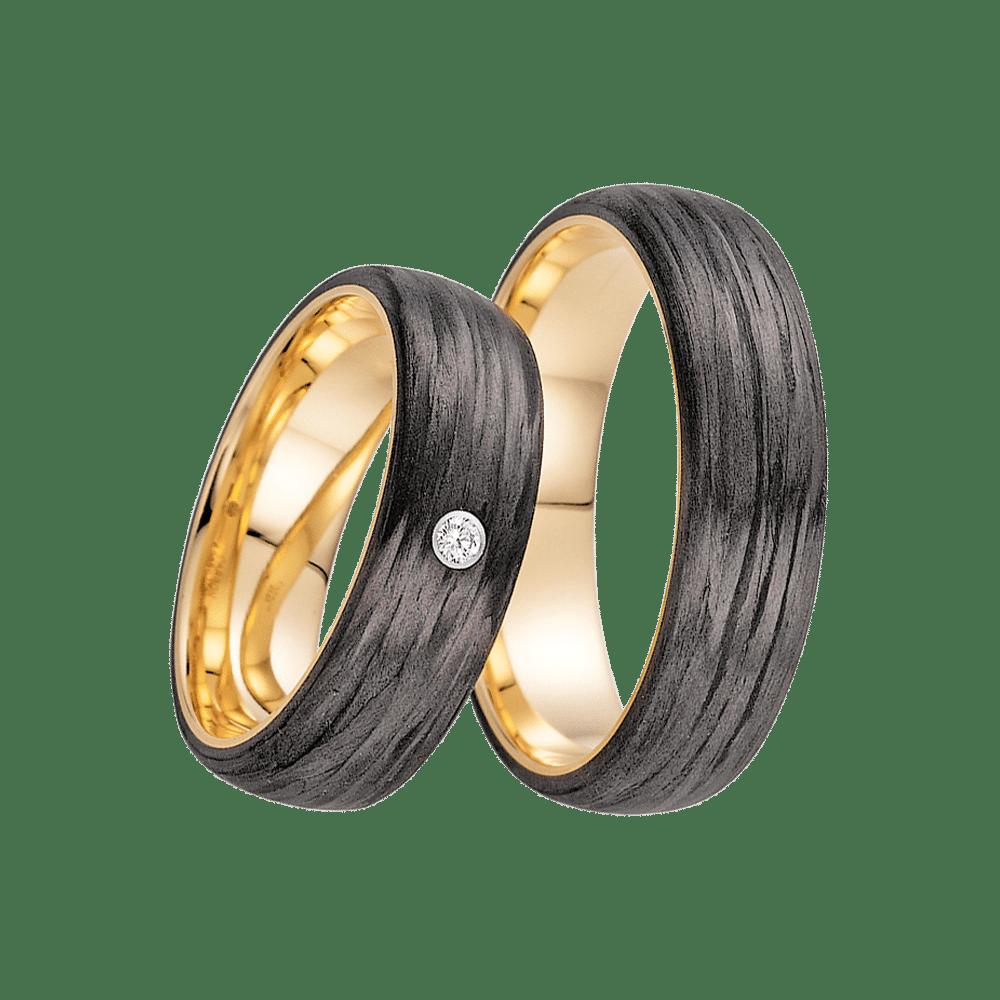Fischer, Carbon küsst Gold, Trauringe, 23-01350-060