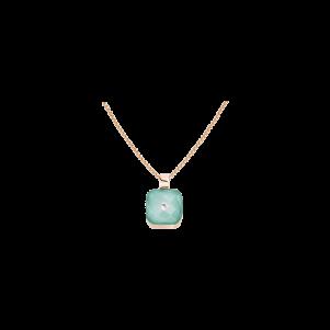 Meissen Couture, Anhänger mit ice green Porzellan, Bergkristall und Diamant, Roségold, MFJ20XDC1200
