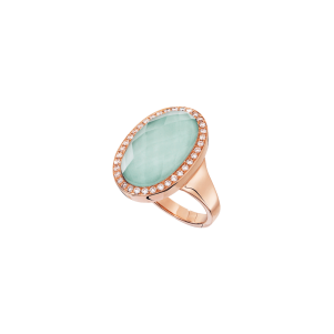 Meissen Couture, Ring, Roségold, Diamanten, Bergkristall, Porzellan