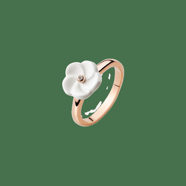 Meissen Couture, Ring, weiße Blüte, Roségold, Diamant, MFJ10BL11400