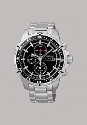 Seiko, Solar Alarmchronograph, Edelstahl, silber, schwarz