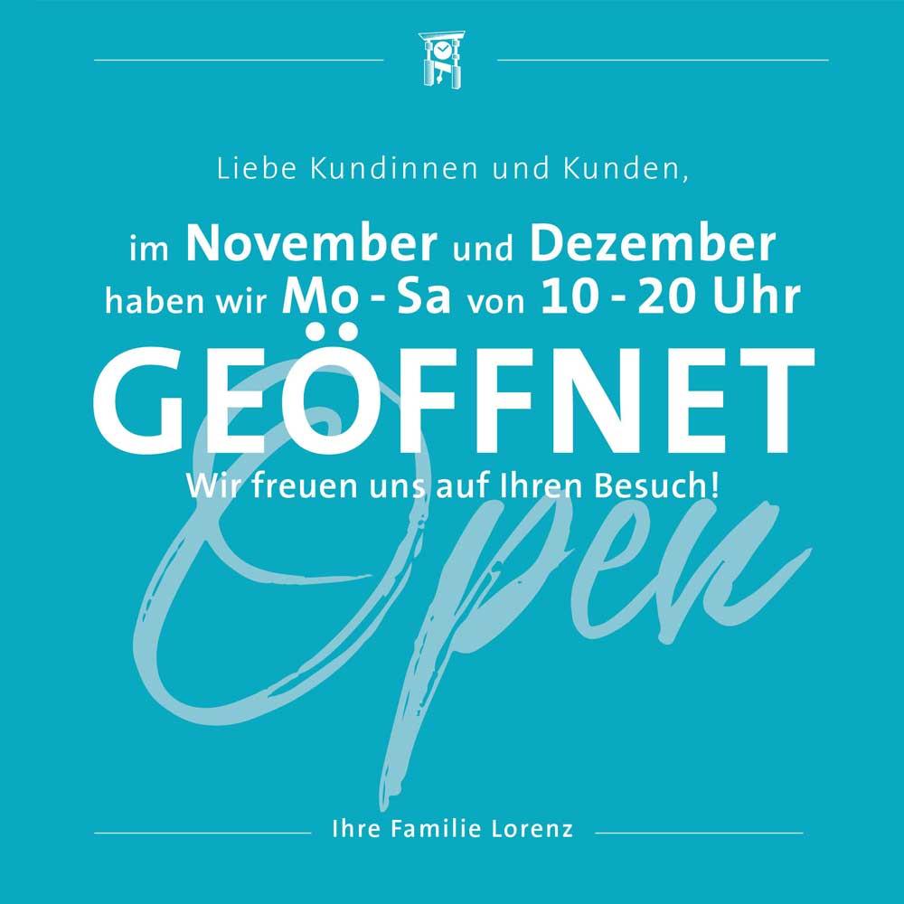 Juwelier Lorenz: Wir haben geöffnet!